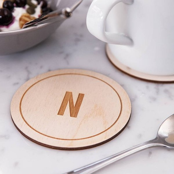 12pcs Wooden Wedding Coasters Personalized Custom Party Table Decoration Coasters Wooden Gifts Party Favors Supplies