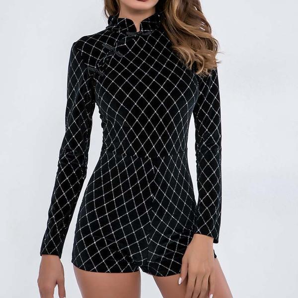WHZHM Autunno Vintage Playsuit Donne Full Sleeve Jumper Bodycon Partito Tuta Sexy Skinny Elegante Femme Abbigliamento Tute