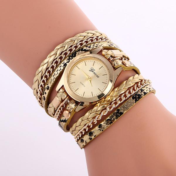 Простые женские печатные цепи кожаные часы модные женские часы-браслет оптом новые леди женские платья кварцевые наручные часы
