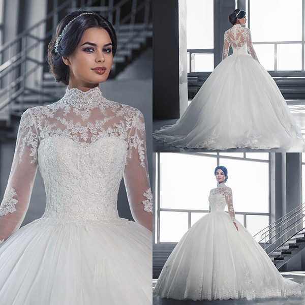Elegant High Collar Long Sleeves Ball Gowns Wedding Dresses Muslim
