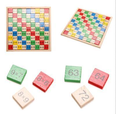 Multiplication Table Math Toys 9x9 Double Side Printed Board Colorful Wooden Figure Block Kids Educational Toys Party Favor CCA11075 10pcs