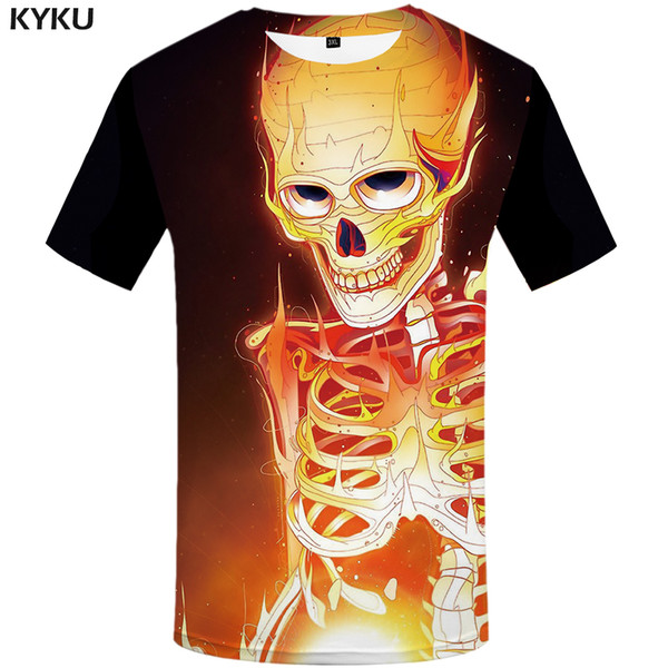 KYKU Skull T shirt Men Graffiti Anime Clothes Art T-shirts 3d Colorful Tshirt Printed Cosplay Tshirts Casual Mens Clothing