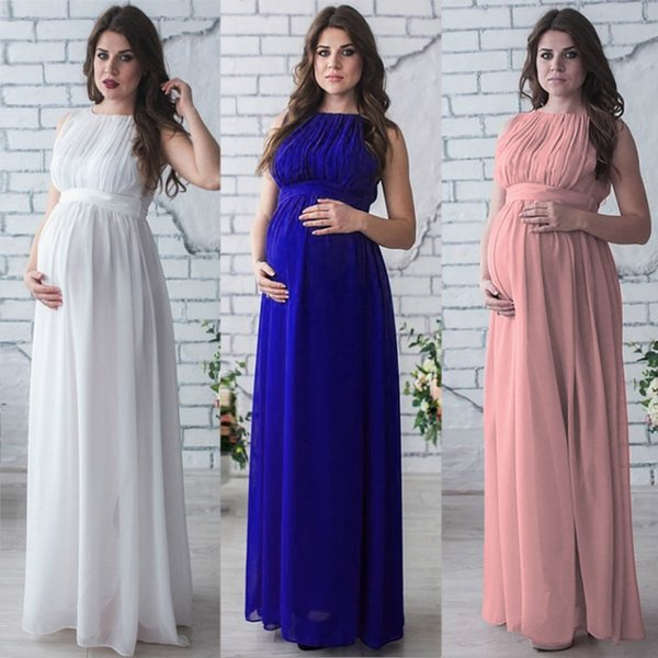 high fashion various design good quality 2019 Maternity Cloth Photography Props High Waist Round Neck Solid  Sleeveless Chiffon Large Size Long Casual Skirt Pregnant Maxi Dresses From  ...