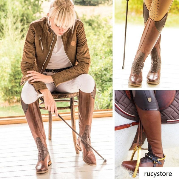 Le donne Equestre equitazione Stivali High Rider sopra gli stivali al ginocchio per le donne Lace Up ginocchio cuoio di alta Plus Size 40 41 42 43