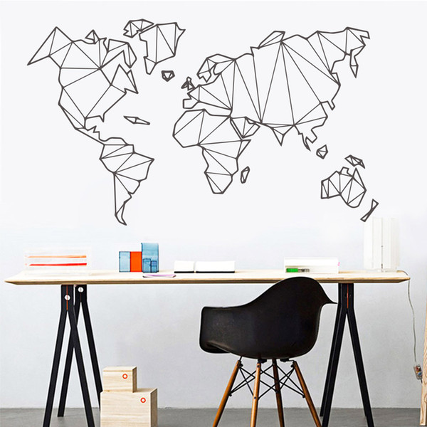 2019 New Geometric World Map Wall Sticker Vinyl Mural Removable Stickers  Home Living Room Decoration Accessories Bedroom Decor Wall Decals Art Wall  ...