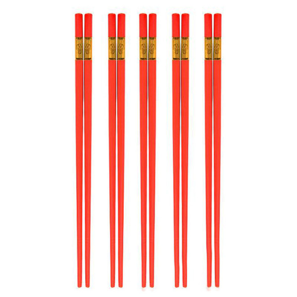 Alloy Red Chopsticks Chinese Long Non-Slip Sushi Hashi Chop Sticks Set Wedding Favors and Gifts Tableware ZC0327