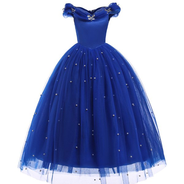 Princess Cinderella Girl Dress Kids Butterfly Sequined Cosplay Costume Children Halloween Birthday Party Pageant Wedding Dresses J190616