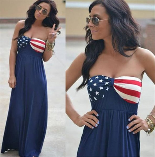 Flag USA Stars Print Designer Womens Maxi Dresses Summer Strapless A Line Ladies Sexy Dresses With Peplum