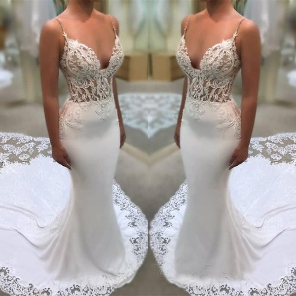 Glamorous Spaghetti-Straps Wedding Dresses Lace Mermaid Bridal Gowns Backless Wedding Party Tuxedos Zipper Back robe de mariee