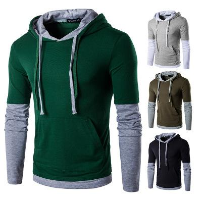 Men's Hip Hop Hoodies Long Sleeve Color Matching Fashion Slim Fit T-shirt Sportwear Color Block Pullover Casual Outwear Coats for Men Black