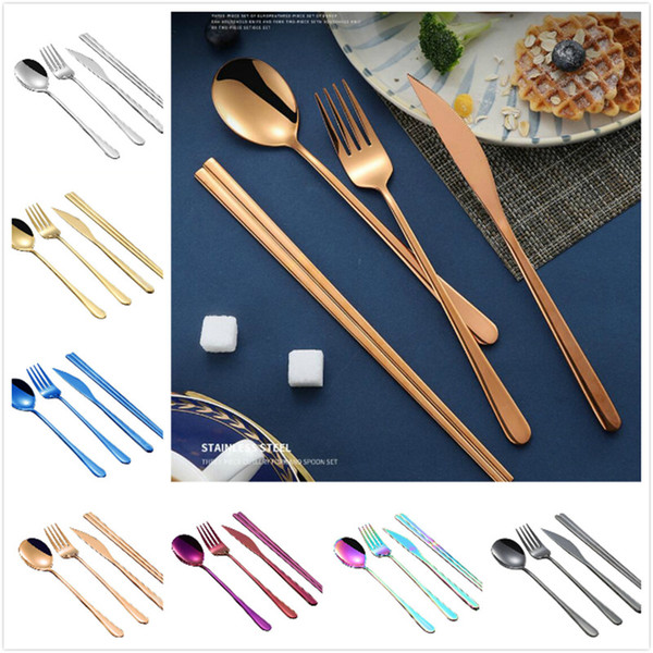 best selling Korean flatware sets stainless steel long handle knife fork spoon chopsticks set colorful flatware for wedding kitchen accessories