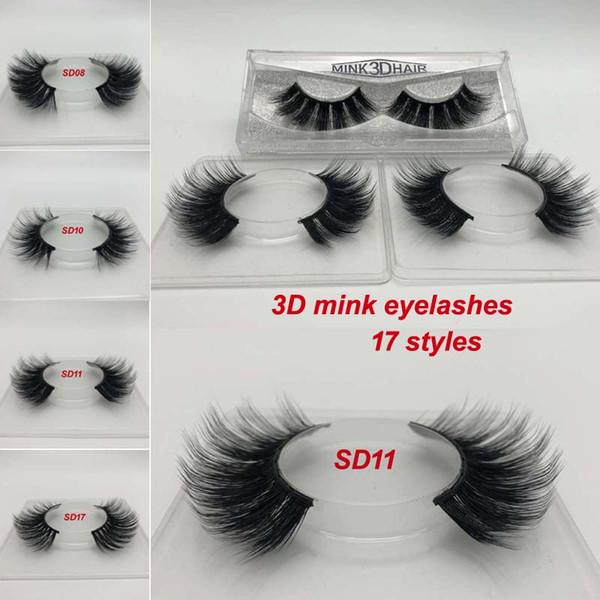 Milk Eyelash 17 styles Selling 1pair/lot 100% Real Siberian 3D Strip False Eyelash Long Individual Eyelashes 3D Full Lashes Extension