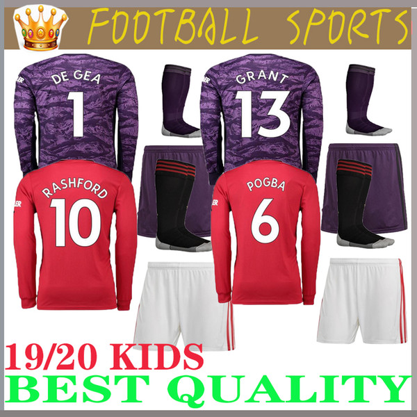 Long leeve 19 20 pogba manche ter occer jer ey hone kid kit 2019 2020 jer ey utd united ra hford lingard football hirt boy goalkeeper, Black;red