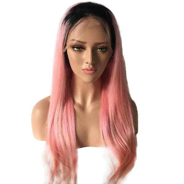 Pink Lace Front Wig Ombre Dark Root Straight Glueless Virgin Peruvian Pre Plucked Pink Full Lace Human Hair Ombre Wigs For White Women