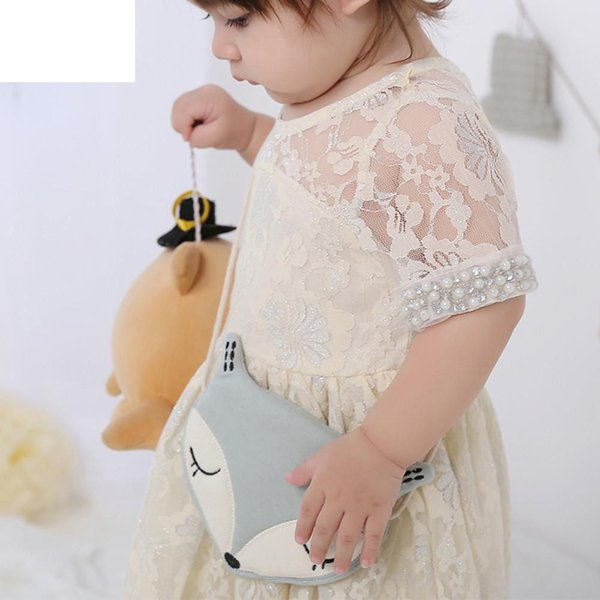 Lovely Baby Girl Bag Kids Fox Fashion Cute Storage Bag Single Shoulder Bag Children Cute Fox Shape Cotton Cloth Money Bags