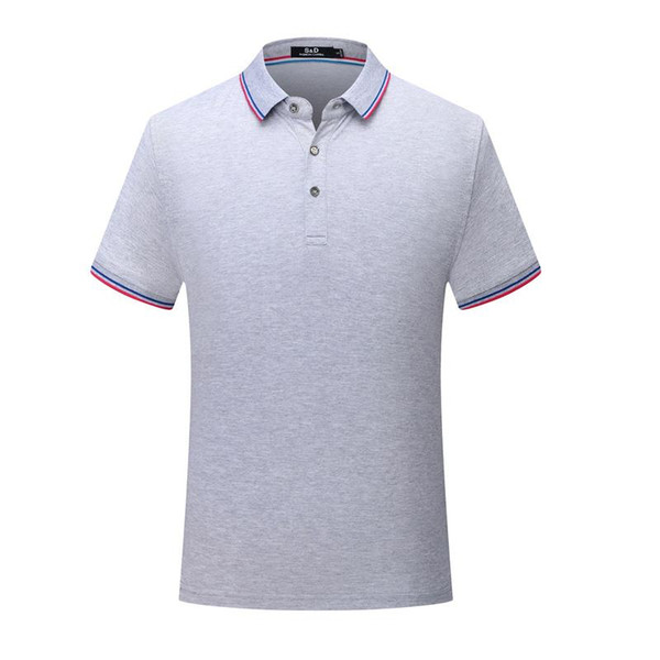 New striped collar short sleeve men and women comfortable breathable T-shirt Gray Polo shirt uniform SD-7912-182