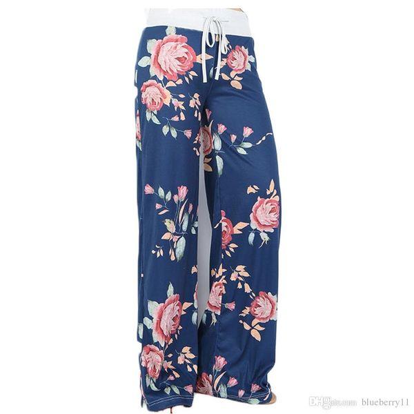 yoga pants Ladies floral yoga palazzo trousers womens summer wide leg pants black gray plus size S-3XL