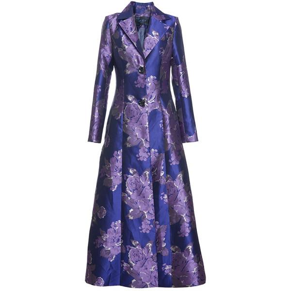 Плюс Размер Пальто Верхняя Одежда 2019 Весна Осень Мода Ветровка Женщины Очаровательный Цветочный Принт Однобортный Фиолетовый Пальто