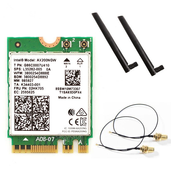 Network Cards Dual band 200NGW Wireless 802.11ac/ Network Intel WiFi 6 AX200 Wlan NGFF Wifi Card 5G up to 2.4Gbps Bluetooth 5.0