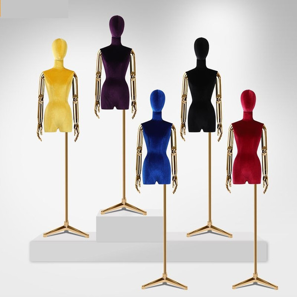 Manichino femminile in fibra di vetro con tessuto a metà corpo nuovo e alla moda con braccia manipolatore placcato per sciarpa, cappello, parrucche, esposizione di gioielli
