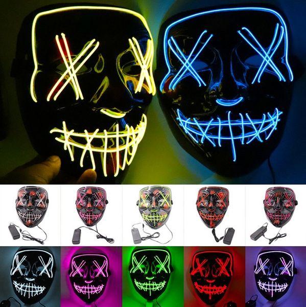 Maschera di Halloween LED L Wire Glowing Mask Fantasma Maschera lampeggiante per Halloween Spaventoso Cosplay Masquerade Party luminoso DHL