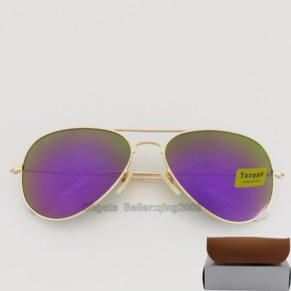 Alta calidad Diseñador de moda Espejo de moda Hombres Mujeres Polit Gafas de sol UV400 Vintage Sport Gafas de sol Marco dorado Púrpura 58 MM 62 MM Lentes