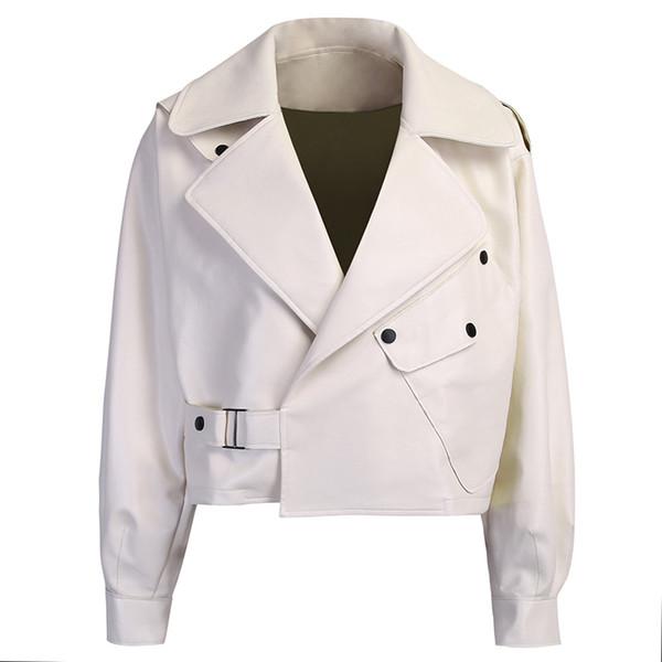 Белая кожаная куртка женщин осень зима Короткие искусственной кожи PU куртки отложной воротник черный мотоцикл пальто вскользь Верхняя одежда