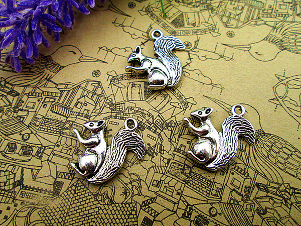 12pcs--Squirrel Charms Antique Tibetan Silver lovely squirrels Charms Pendants, Animal charms 21x21mm