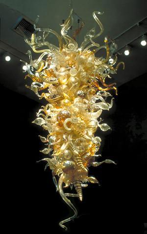Grandes cristales colgantes Hotel Gold Amber para lámparas mayorista Handblown Art Glass Luces pendientes envío