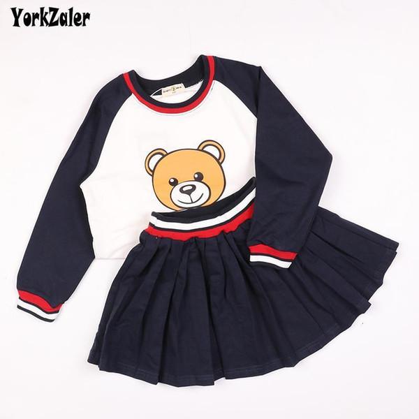 Детская одежда Наборы для девочек Мальчик весна осень Медведь рубашки брюки юбка 2pcs детей Комплекты для малышей Детская одежда Набор 3T-7T