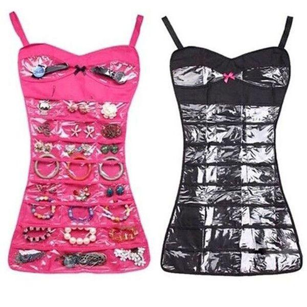Non-Woven Fabric Storage Organizer Jewelry Brooch Closet Hanging Type Black/Pink Storage Bag Holder Home Organization