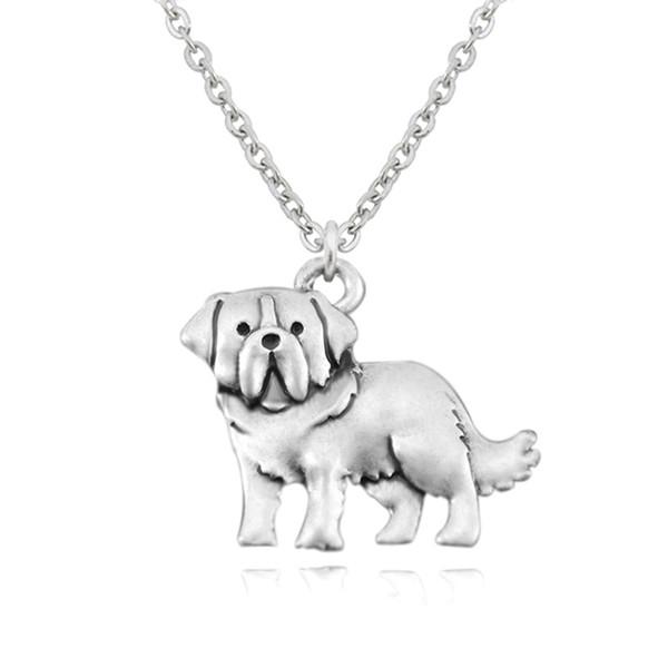 Vintage Silber Saint St. Bernard Hund Charme Anhänger Edelstahl Kette Halskette Colar Boho Chic Männer Modeschmuck Bestes Geschenk