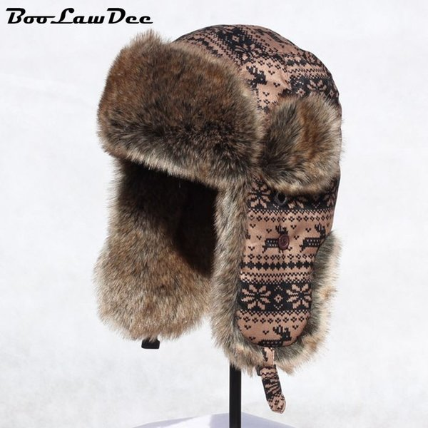 BooLawDee Russia snow bomber hat polyester fabric for men and women winter earmuffs flight arctic cotton cap 56cm 58cm 60cm M221