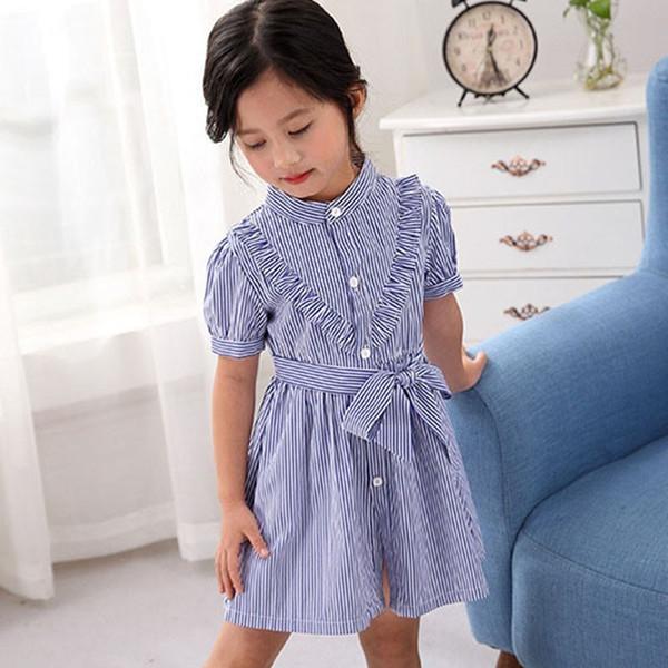 4139ed485cfc Мода Одежда для Девочек Летняя Школа Девушка Золушка Платье Повседневная Рубашка  Платье Синяя Линия Детская Детская