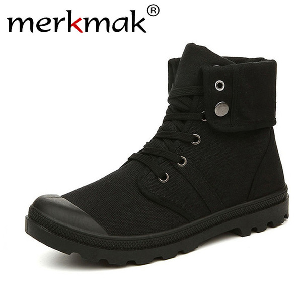 Autumn Winter Men Canvas Boots Army Combat Style Fashion High-top Military Ankle Boots Men's Shoes Comfortable Sneakers