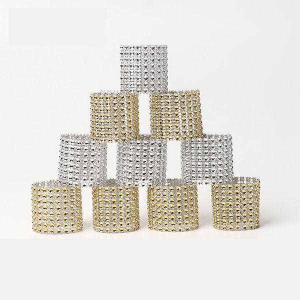 8 rows Rhineston napkin rings plastic napkin buckle charm Mesh Wrap Napkin Ring Serviette Holder hotel wedding table decoration AAA1845