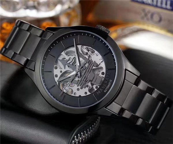 2019, la nouvelle montre sera l'acier de précision mécanique automatique, loisirs maserati montre mécanique de ceinture en acier inoxydable