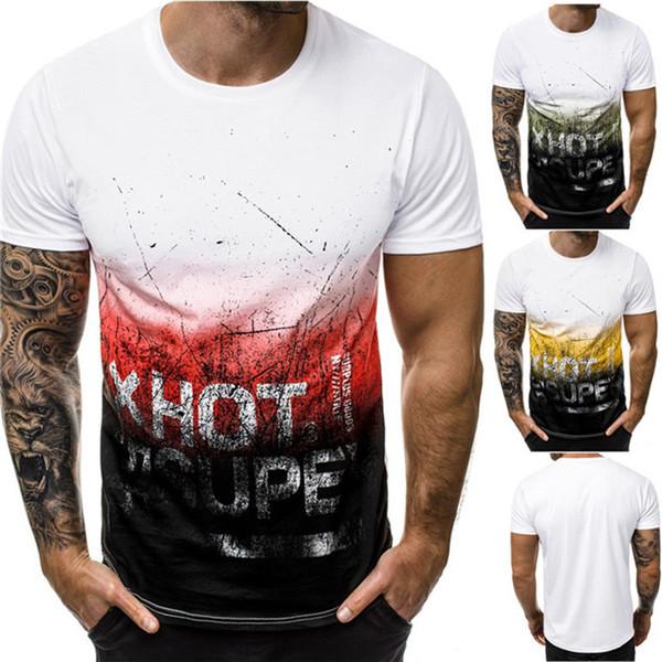 Summer Mens Designer Tshirts 3D Imprimé À Manches Courtes Chemises Skinny Mens Casual Graffiti Tops Mâle Vêtements