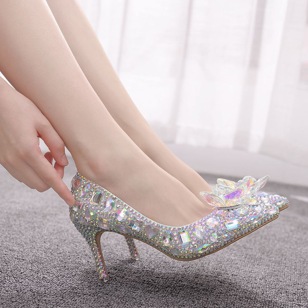 Cinderella Glass Slipper Sexy 7cm Pointed High Heeled Fine With