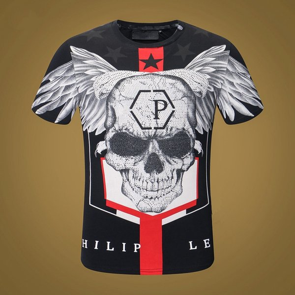 mens designer t shirts t shirt clothes of white clothing men's round neck T-shirt domineering personality high quality PP hot drilling