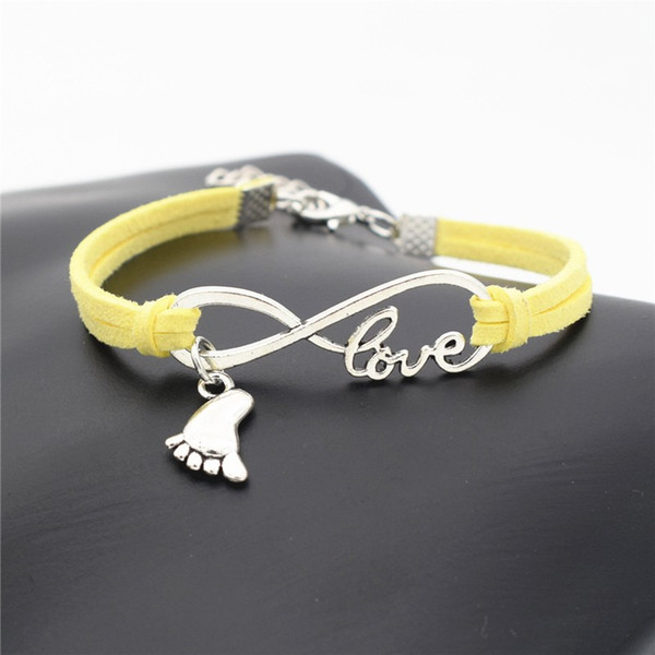 Classic Infinity Love Foot Feet Pendant Bracelets & Bangles for Couple Women Men Charm Boho Yellow Leather Suede Rope Wrap Cuff Jewelry Gift