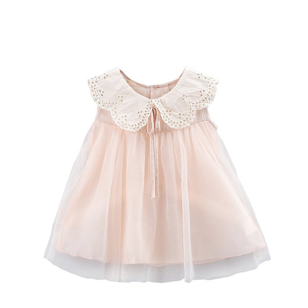 Cute baby girl dress Solid Bow Lace Tulle Party Princess Dress Clothing Pink White for Toddler Kid robe