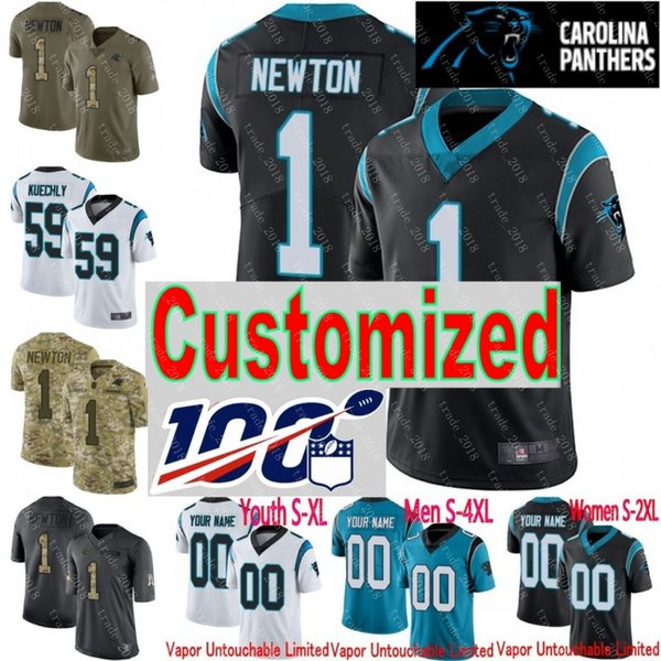 100th anniversary custom panther men youth women will grier luke kuechly cam newton camo christian mccaffrey julius peppers jersey, Black;red