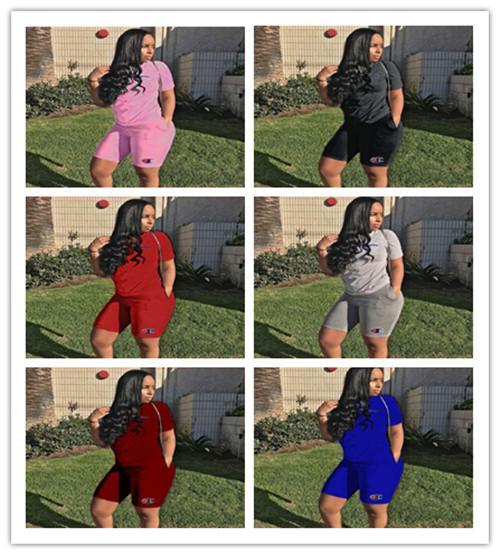 Kadın Şampiyonu Mektup Shortsleeves Eşofman Yaz T gömlek + Şort 2 adet / takım Kıyafet Yaz Jogging Yapan Set Spor Yeni A361