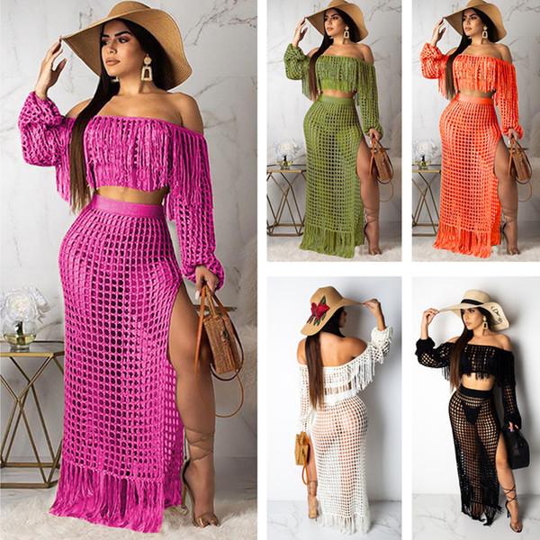 Summer Women Beach Mesh Cover Up Crop manica lunga + Maxi Dress 2 pezzi Set Bikini Swimsuit Cover Wear Maglia lunga tunica tunica Tuta C51406