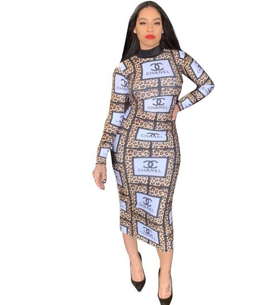 Vestidos de festa de roupas femininas alta gola impressão bodycon dress moda feminina casual vestidos sexy bandage boate lápis dress