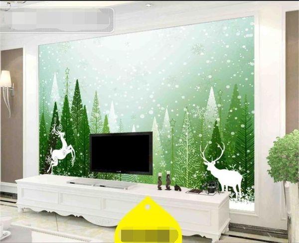 Dimensioni personalizzate Foto 3D Wallpaper Soggiorno Murale Verde Foresta di Natale Alce 3D Immagine Divano TV Sfondo Home Decor Creative Hotel Wallpaper