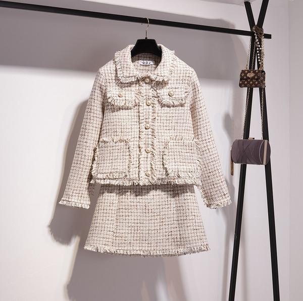 Novo design de moda primavera das mulheres branco xadrez borla beading tweed casaco curto de lã e uma linha de saia curta twinset vestido terno