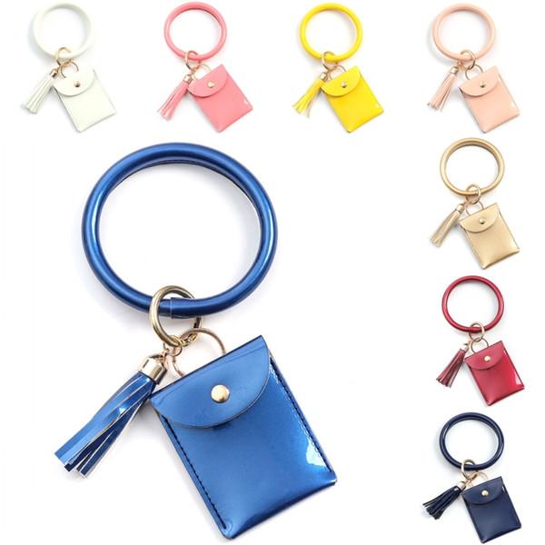 best selling DHL Shipping Wristlet Keychain Leather Purse Tassel Keyring Bracelet Bangle with Cash Coin Pocket Card Wallet Key Holder 10 Colors B140F