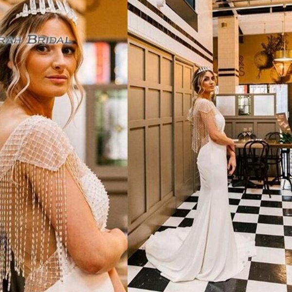 best selling 2019 Elegant Mermaid Wedding Dresses with Tassel Sexy Sheer Back Evening Wear Formal Gowns High-end Wedding Boutiques